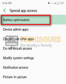 Choosing Battery optimization
