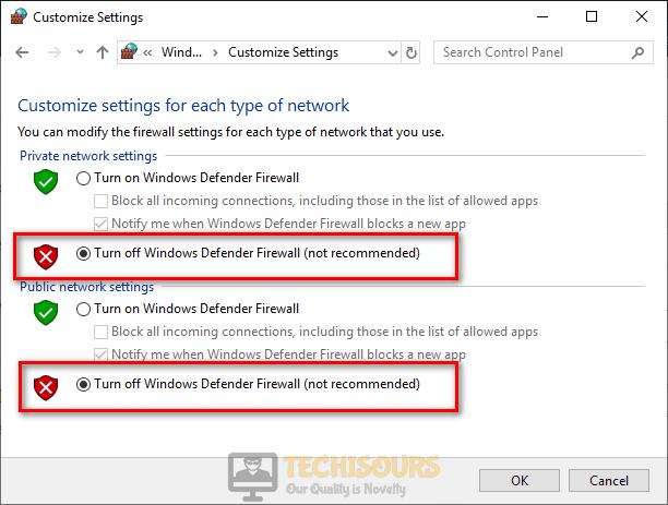 Turn off Windows defender firewall