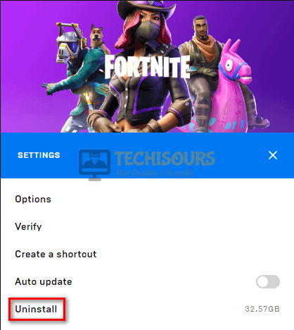 Uninstall the game to resolve fortnite error code 91