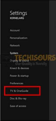 Choose TV & OneGuide to fix xbox error code 0x8027025a