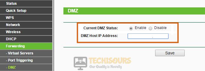 Enable DMZ to fix FFXIV Error 2002