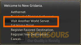 Visit Another World Server to fix FFXIV Error 2002