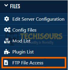 FTP File Access to fix internal server error minecraft