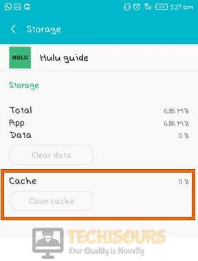 Clear cache to fix Hulu Error code 301