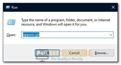 "Typing in ""Appwiz.cpl"" in the Run box."