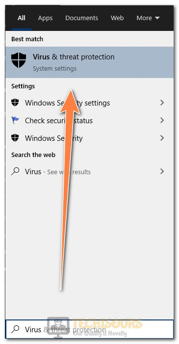 Virus and Threat Protection to fix server not found error