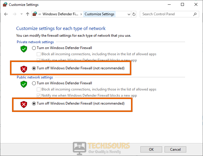 Turn off Windows Defender Firewall