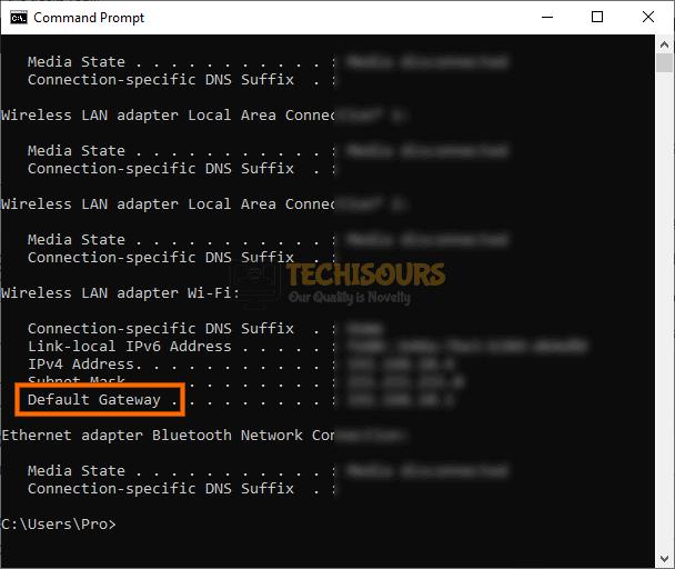 Locate Default Gateway to fix error code weasel issue