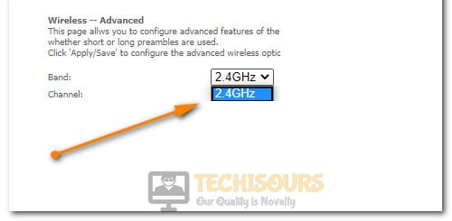 Selecting 2.4 GHz to fix Wyze Error Code 90
