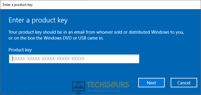 Enter product key to get rid of windows error code 0xc004f025