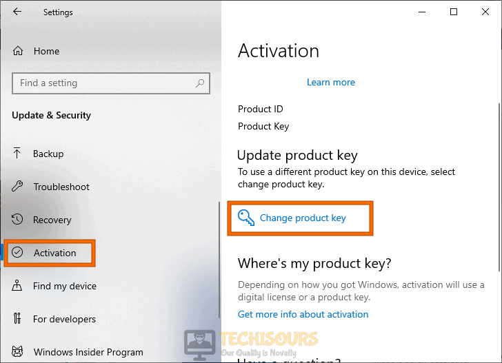 Changing product key