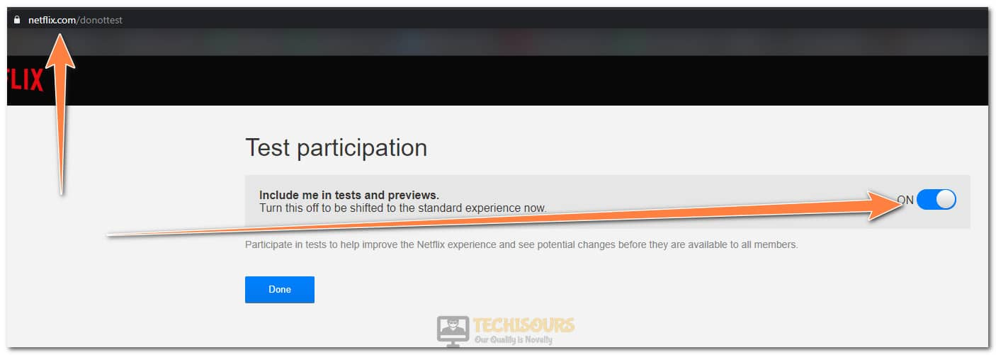 Turning the Test Participation toggle off to fix error code m7353-5101