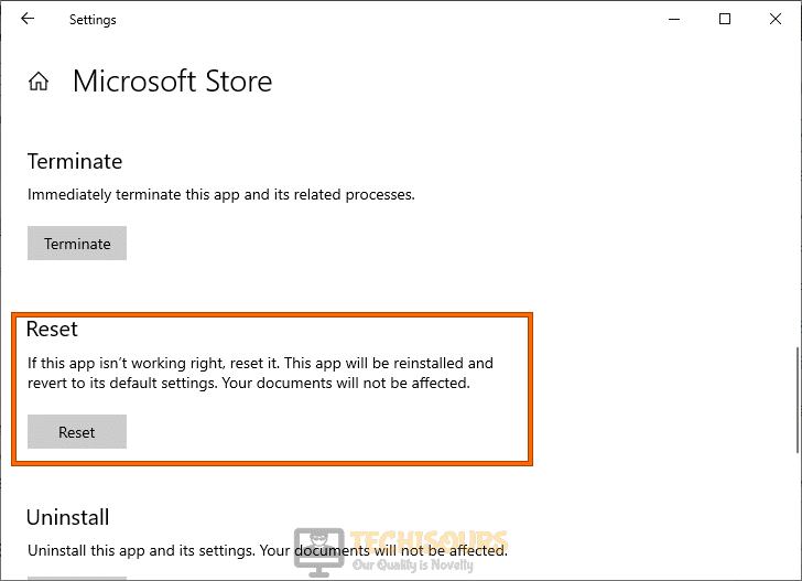 Reset Microsoft Store to fix Error 0x80070015
