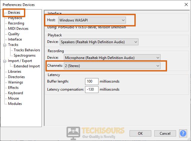 Tweak settings to fix audacity error opening sound device