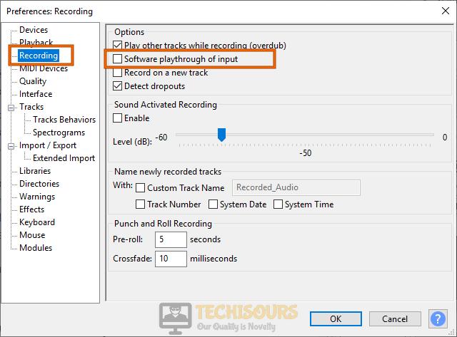 Modify settings to fix audacity error opening sound device