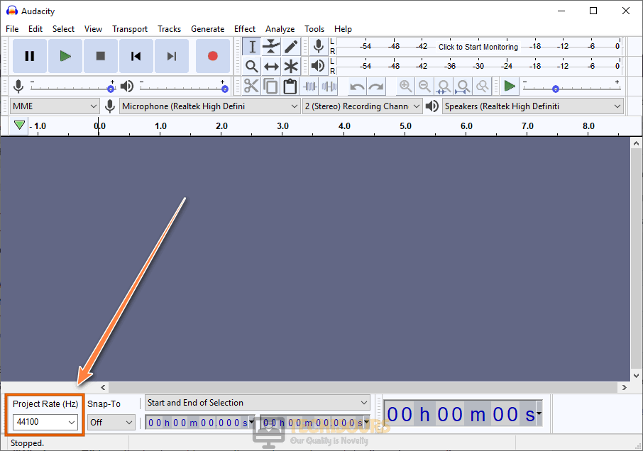 Set frequency to fix audacity error opening sound device