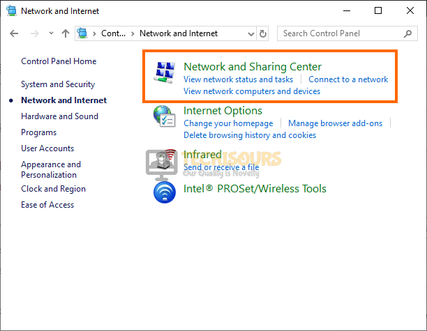 Network sharing center