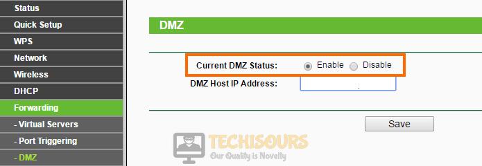 Enable DMZ