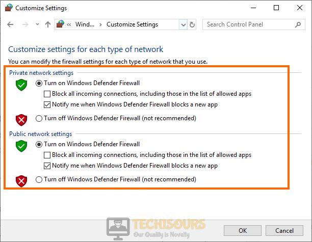 Turn on Windows Firewall to fix Xbox Teredo Error