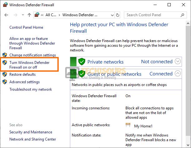 Turn Windows Defender Firewall on or off
