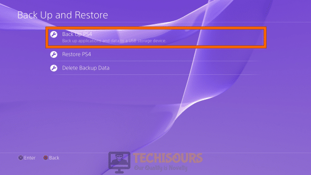 Backup PS4 t get rid of ps4 error code np-36006-5