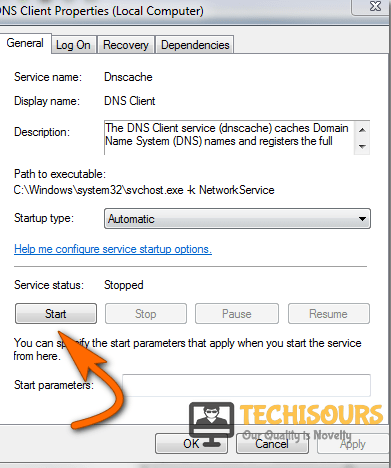 """Click on """"Start"""" to launch the service"""