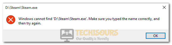 Windows cannot find steam.exe