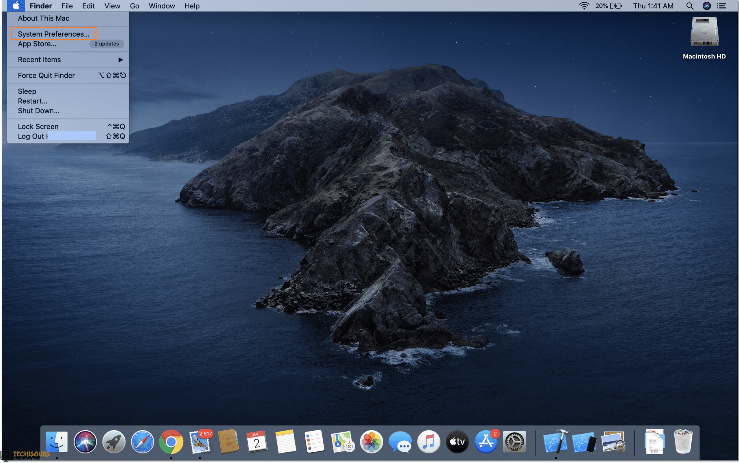 Click on System preferences to get rid of spotify error code 4