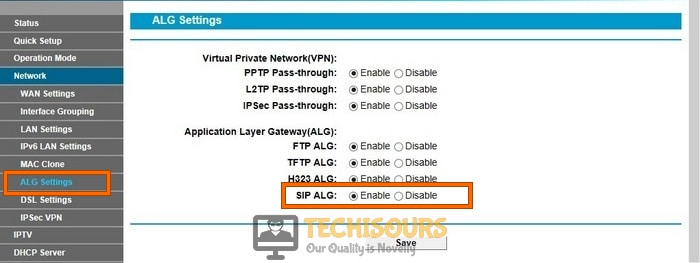 Enable SIP ALG in the router