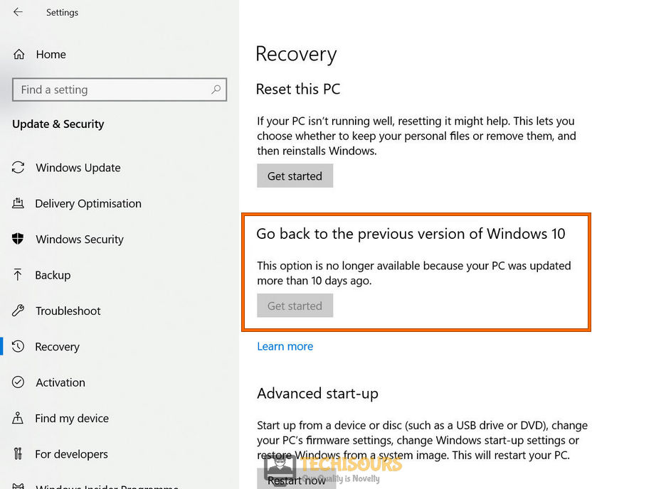 Get back to the previous version of Windows 10
