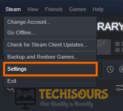 Choose Steam Settings to fix steam takes forever to open problem