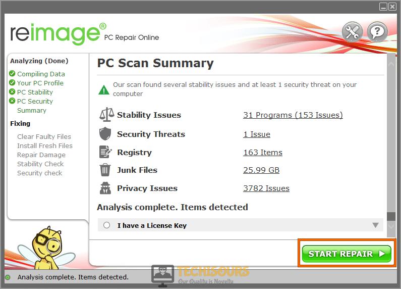 Start repairing files to rectify 0xc1900209 error