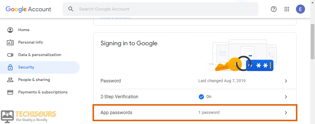Click on App Password option to fix we couldn't create the outlook data file issue