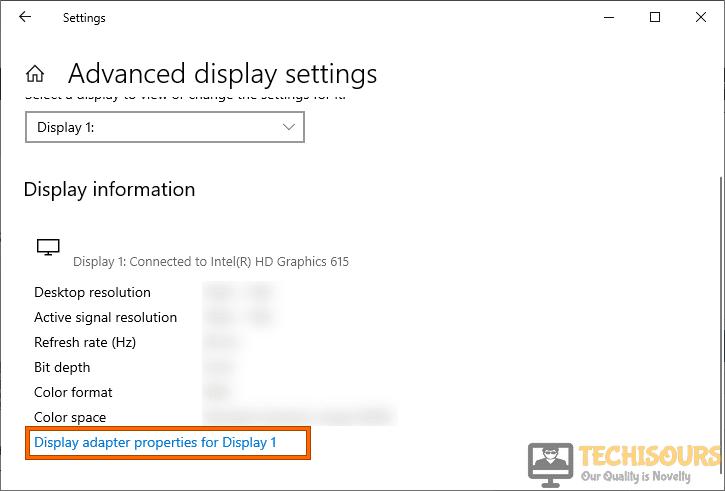 Display adapter properties for display 1