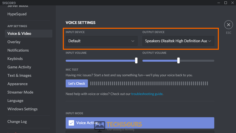 set input and output devices to get rid of discord stops working in game problem