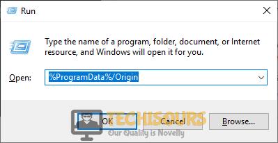 "Typing in ""%ProgramData%/Origin"""