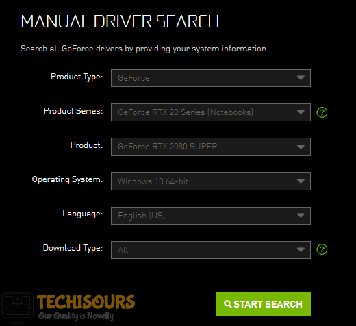 Manually search for the driver