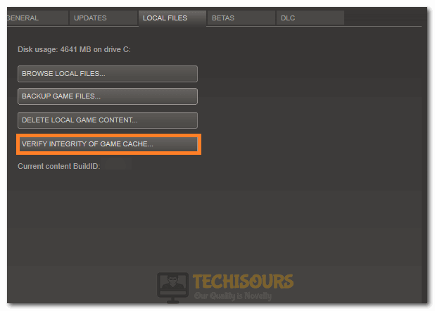Verify integrity of game files to fix steam corrupt content files issue