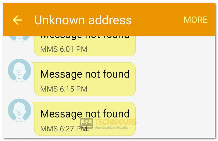 Unknown Address - Message not Found
