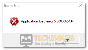 Application load error 5:0000065434 on Steam