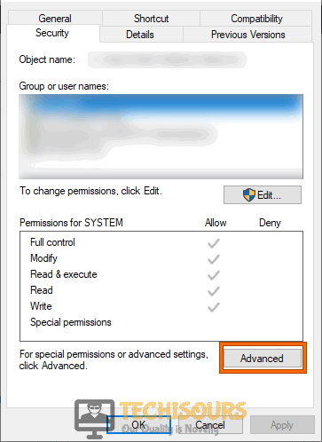 Click on Advanced button to fix .net runtime optimization service high cpu problem