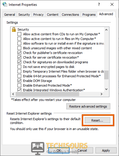 Reset Internet Explorer Settings to fix content was blocked because it was not signed by a valid security certificate issue