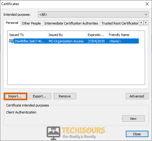 Import Certificate to fix content was blocked because it was not signed by a valid security certificate problem