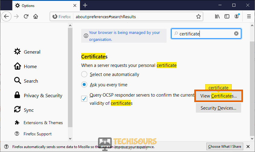 View Certificate to fix content was blocked because it was not signed by a valid security certificate issue