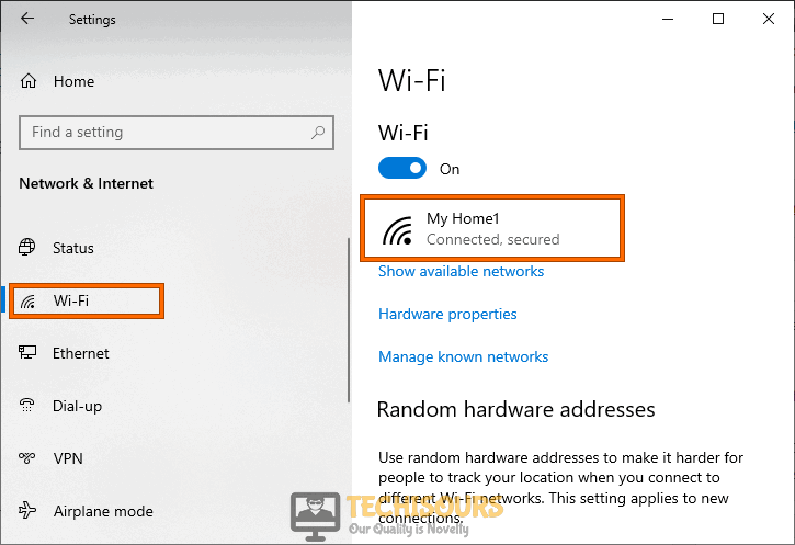 Click on the network to fix windows doesn't have a network profile for this device issue