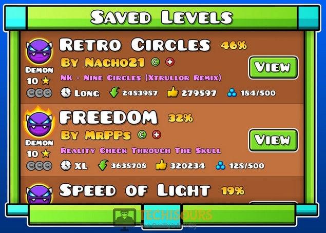 Saved Levels