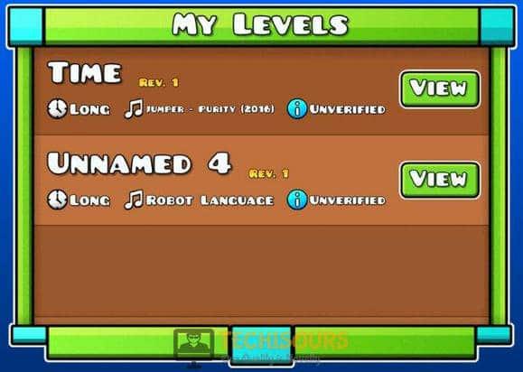 Delete created levels