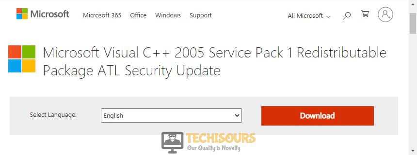 Reinstall Microsoft Visual C++ 2005 SP1 redistributable patch