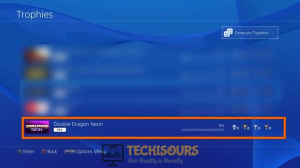 Select option with zero trophies to get rid of ps4 error code np-36006-5
