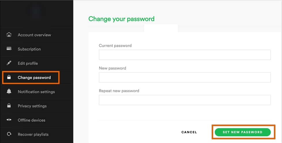 Set new password